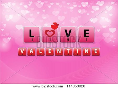 Love Crossword In Heart Bokeh Background