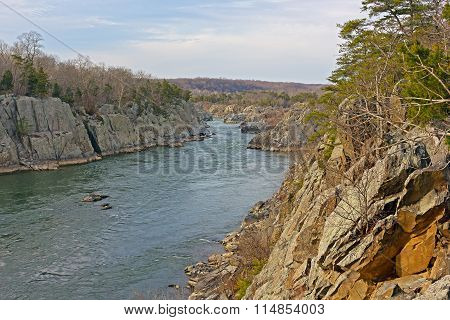 Potomac River at Great Falls Park in winter Maryland USA.