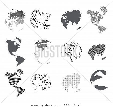 Set Of Design Elements-dotted Globes.