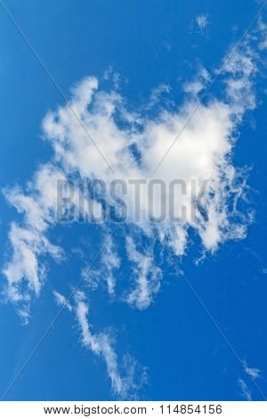 Bright Blue Sky With White Cumulus Clouds
