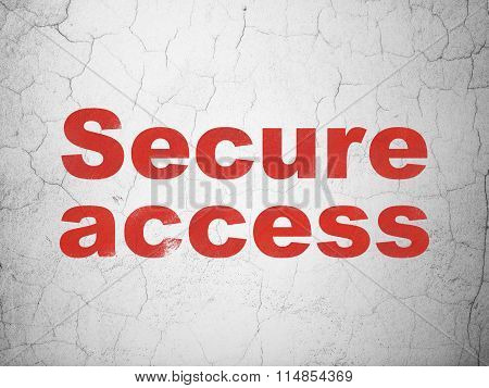 Protection concept: Secure Access on wall background