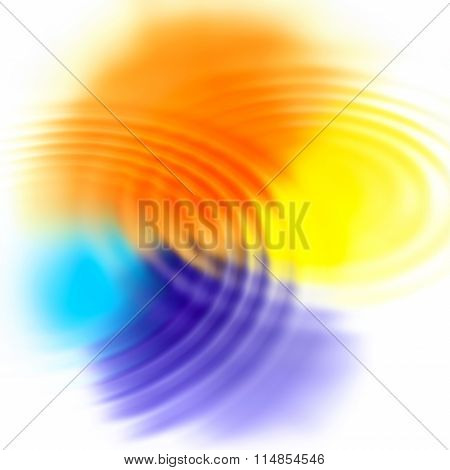 Abstract Color Spots And Concentric Ripples