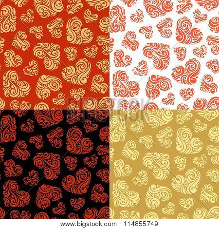 Vector Set Of Seamless Hearts Patterns.