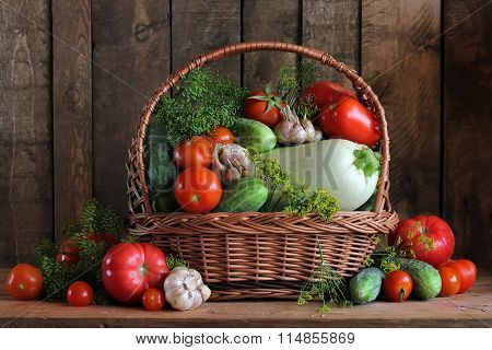 Vegetables In A Basket. Salting Of Cucumbers And Tomatoes.