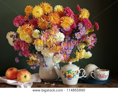 Still Life With A Bouquet Of Chrysanthemums & Apples