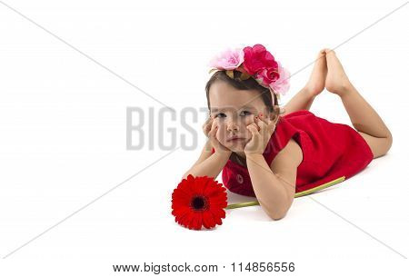 Sad Little Girl With Red Flower Isolated On White