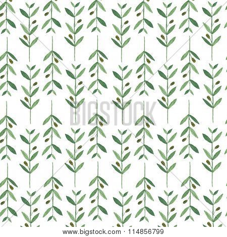 Watercolor pattern with olive branches. Illustration on white background. Nature and Organic concept. Natural product.
