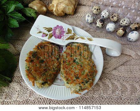 Artishok nettle pancakes
