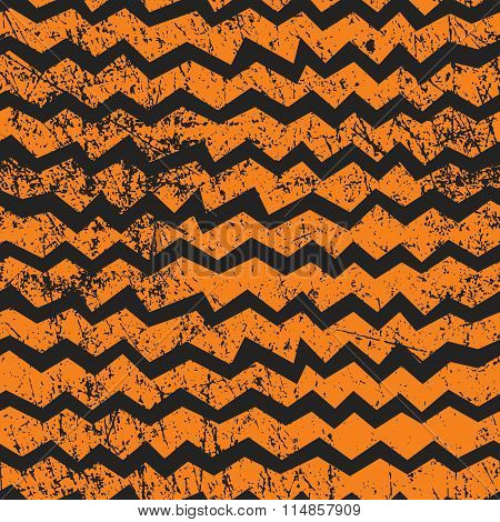 Vector Seamless Halloween Chevron Pattern. Black And Orange Zigzag Lines With Shabby Texture.
