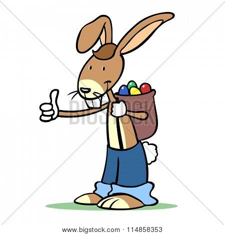Happy cartoon easter bunny with easter eggs holding his thumbs up