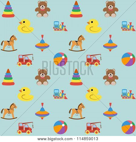 Baby Seamless Pattern With Colored Icons, For Boy