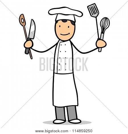 Smiling cartoon chef cook with kitchen tools in his hands