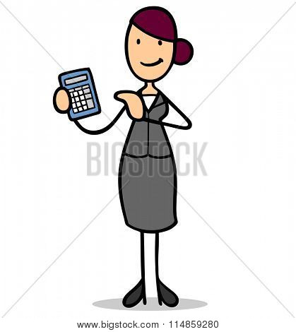 Smiling cartoon business woman with calculator as bank clerk