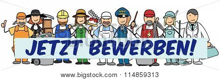 Many different cartoon occupations and jobs with German sign