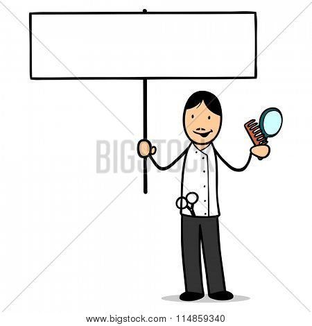 Cartoon hairdresser holding up a blank white sign for marketing