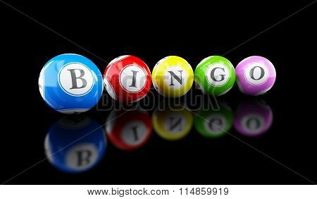 Bingo Lottery Balls On A Black Background