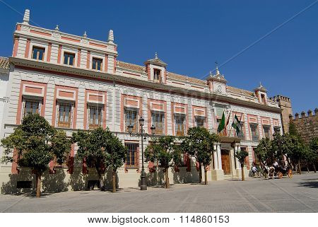 Exterior of the historical building in Seville, Spain.