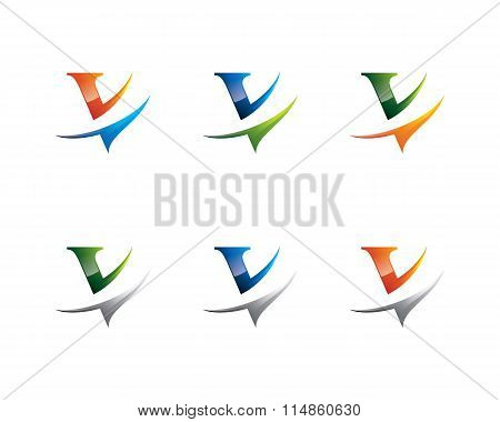 Colorful V Letter Logo , V Logo Design Template Element. Letter V Design Vector.