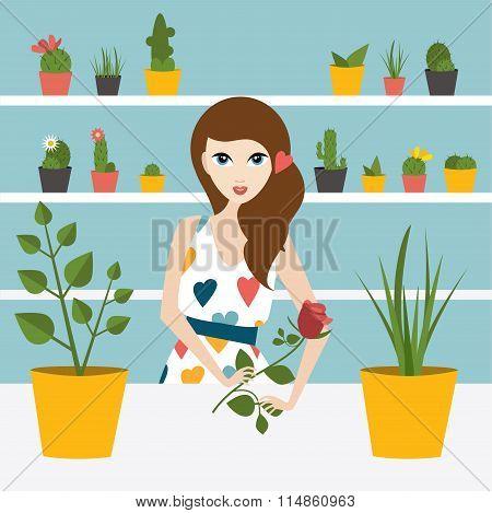 Florist Sales Woman In Flower Store.