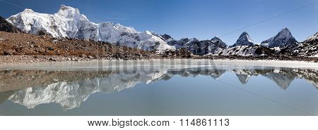 Panoramic View From Gokyo Valley Near Mount Cho Oyu