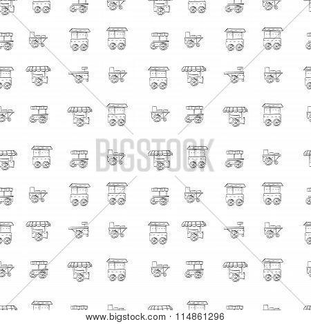 Food trolley vector sketch pattern