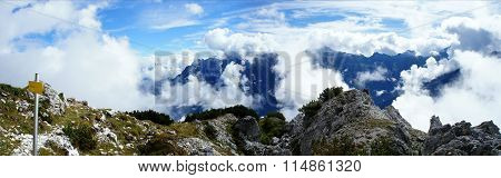 Veil of clouds in the high mountains