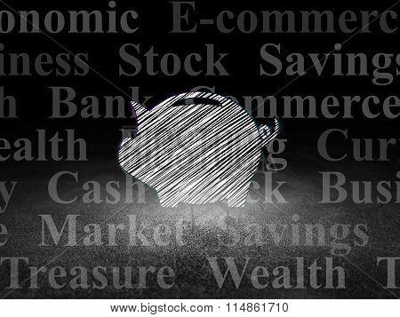 Money concept: Money Box in grunge dark room