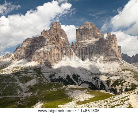 Drei Zinnen Or Tre Cime Di Lavaredo With Beautiful Sky