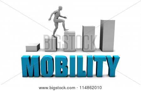 Mobility 3D Concept  in Blue with Bar Chart Graph
