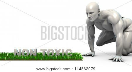 Non Toxic Concept with Man Looking Closely to Verify