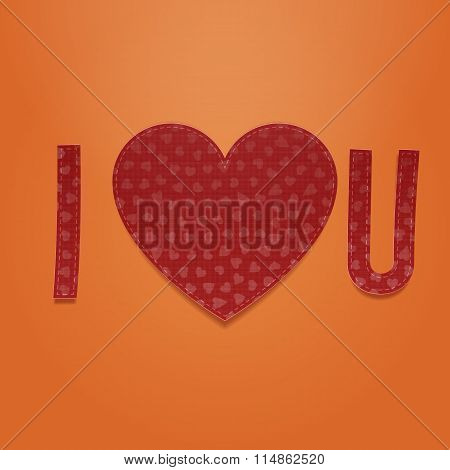 I love You. Realistic Valentines textile Symbols