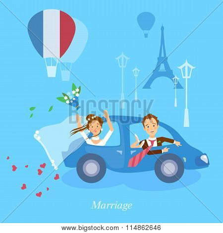 Honeymoon Couple Bride And Groom Journey In Paris