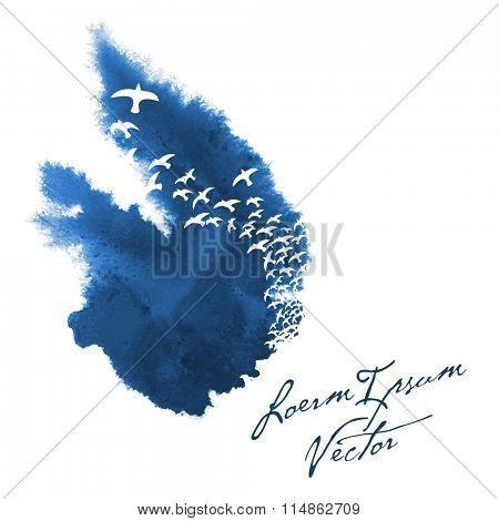 bird silhouettes in painted watercolor background