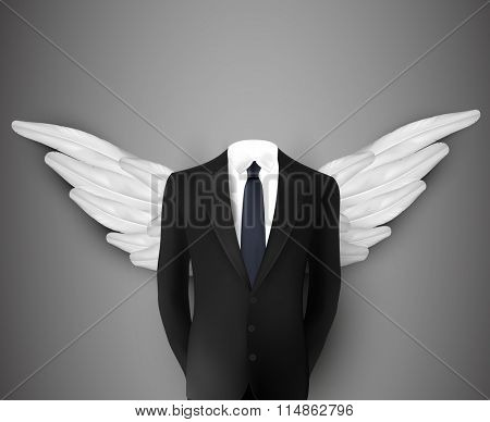 vector businessman with wings