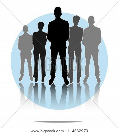 Illustration Of Business Men And Women Group With Light Blue Circle Background