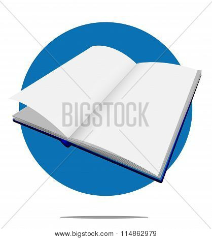 Illustration Of A Blank Book With Blue Circle Background