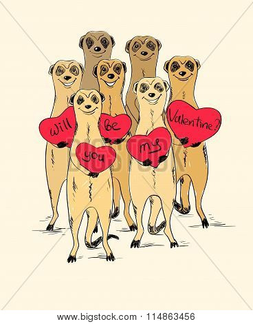 Valentine's Day Card With Funny Meerkats.