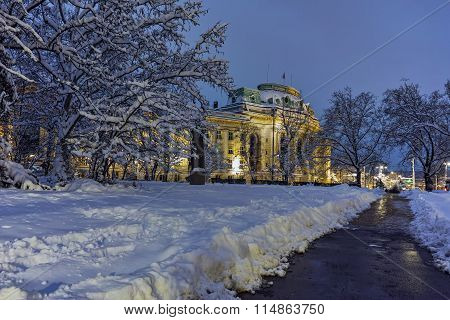 Night winter photo of University of Sofia St. Kliment Ohridski