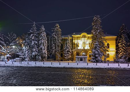 Night winter photo of Alexander Nevsky square, Sofia