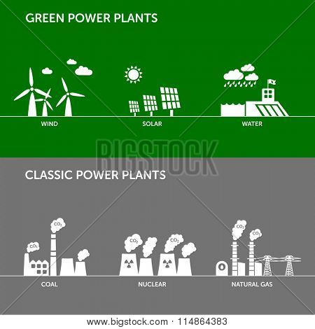Different types of power plant illustrations. Sustainable development concept and ecology theme.
