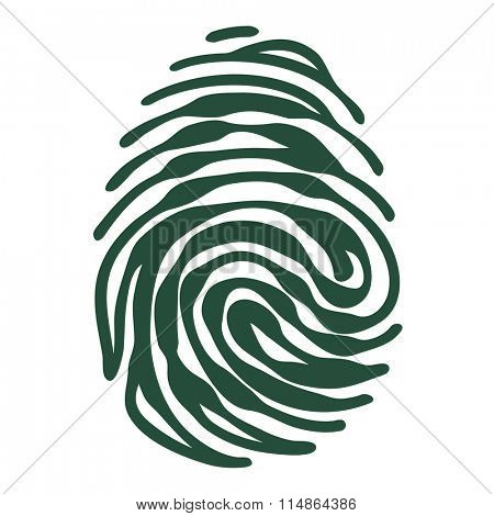 Finger print with access granted padlock shape. Security concept. Vector fingerprint isolated on white background