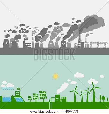 Pollution from old power lants vs. green types of power plants (water, solar, geothermal, wind). Sustainable development theme.