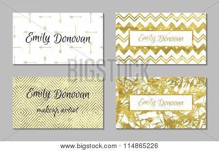 Set of 4 gold and white business card template or gift cards.
