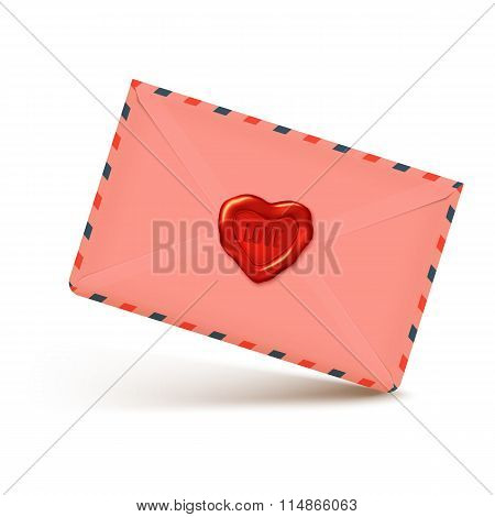 Pink Realistic Vector Envelope With Wax Seal In Heart Shape, Love Letter Illustration