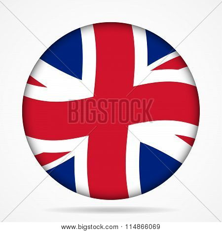 Button With Waving Flag Of Uk
