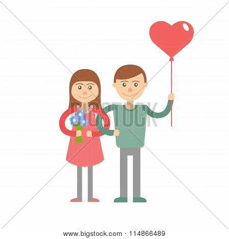 Couple Of Young People.  Vector Picture With Congratulations For The Holiday.