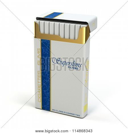 Pack of slim cigarettes on white isolated background. 3d