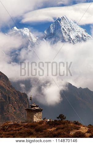 Mounts Kangtega And Thamserku Near Namche Bazar