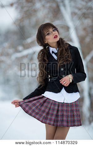 The beautiful student, teacher, schoolgirl