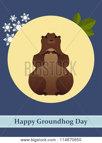 Vector illustration with groundhog and text